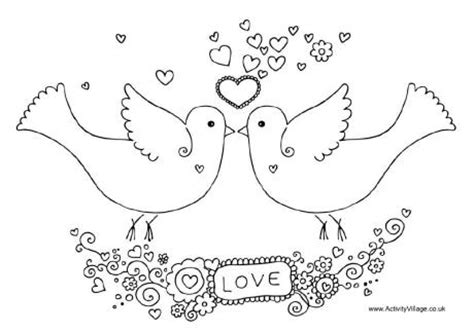 Valentine Coloring Pages Activity Village | love birds wedding coloring pages coloring pages