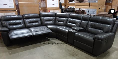 leather sectional costco costco reclining leather sectional 1 999 99 frugal hotspot