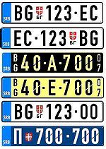 Vorlage Blaue Kennzeichen Kfz Kennzeichen Serbien Und Montenegro