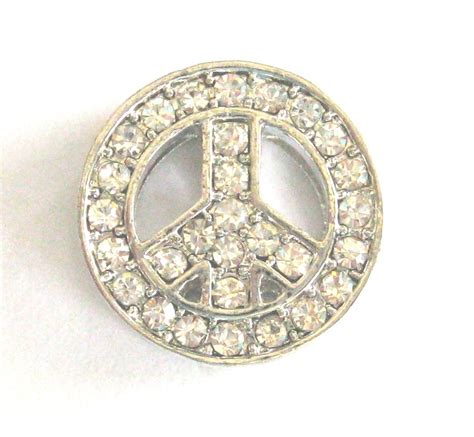 Best Quality Peace Charm 10mm rhinestone slider charm peace sign