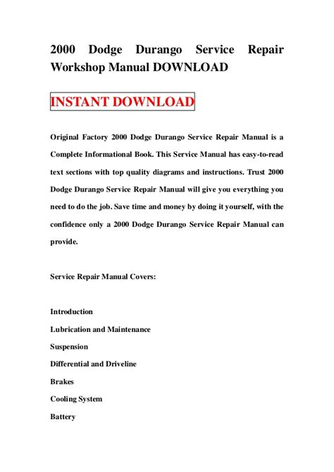 dodge durango 2001 factory service repair manual pdf zip download 2000 dodge durango service repair workshop manual download