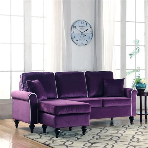 Velvet Sectional Sofa With Chaise Traditional Small Space Velvet Sectional Sofa With Reversible Chaise Purple