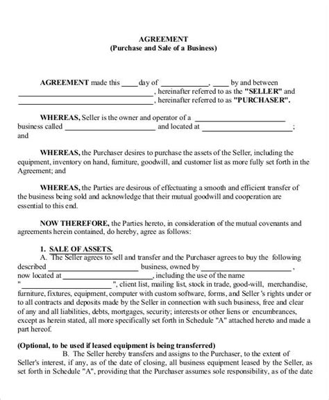 free business transfer agreement template 9 business agreement templates sles exles format