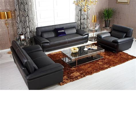 dreamfurniture k8432 black italian leather sofa set