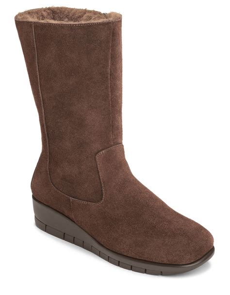 aerosole boots aerosoles plantation suede mid shaft boots in brown lyst
