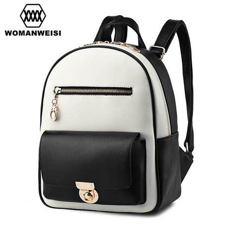 Bagpack Korea White japan and korean style fashion brand white black pu leather splice backpack school bags
