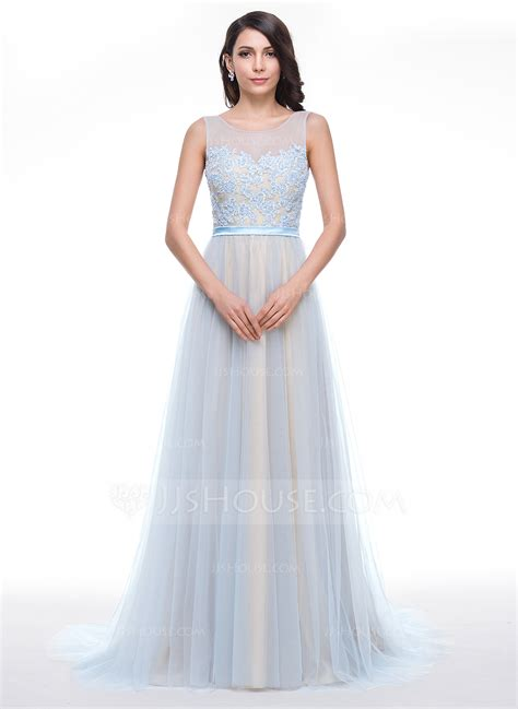 dress with beading a line princess scoop neck court tulle prom dress