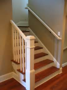 Handrail Balusters Painted Box Newel Post Cherry Treads With