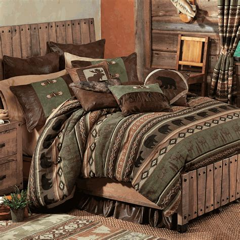 Moose Bedding Set Rustic Bedding Timber Woods Moose Bedding Collection Black Forest Decor