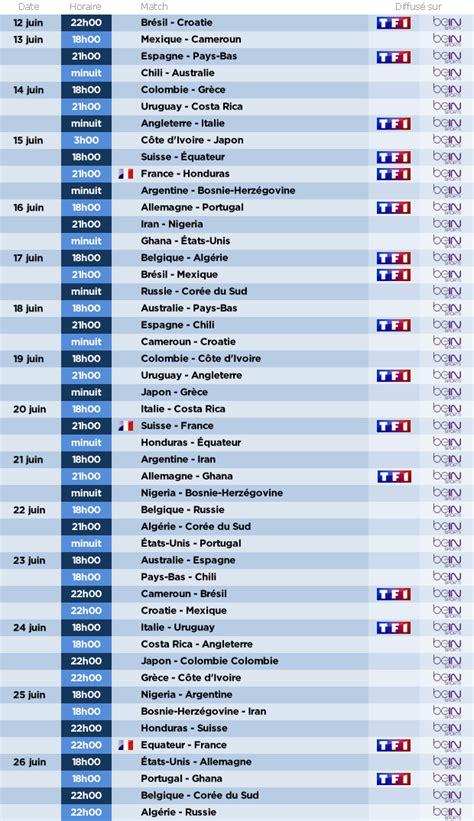 Calendrier Coupe De 2014 Coupe Du Monde 2014 Guide Complet Des Retransmissions
