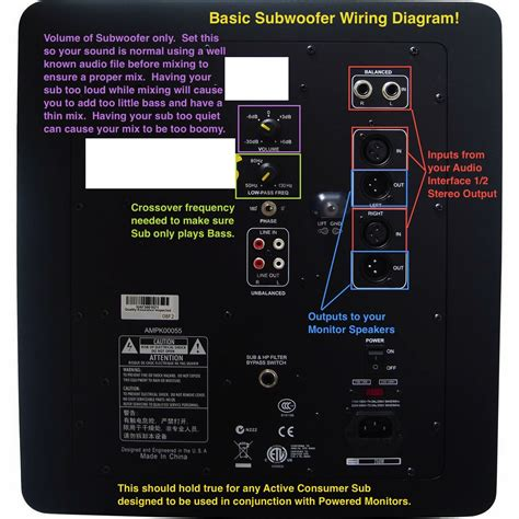 wiring diagram for hooking up a passive subwoofer images