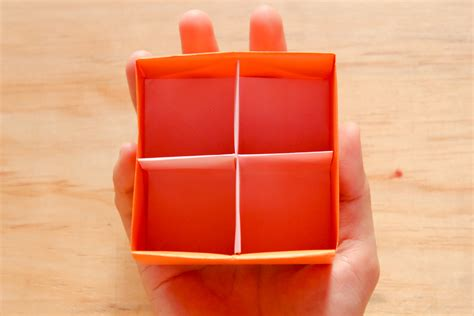 How To Fold Paper Into A Box - how to fold a divider for an origami box with pictures