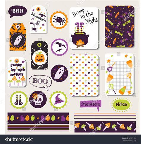 printable cartoon stickers set halloween printable cards banners stickers stock