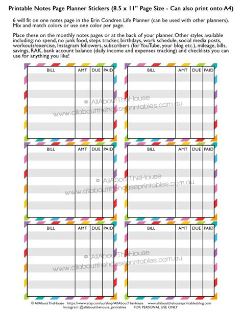 printable planner checklist stickers how to use the monthly notes pages of your planner