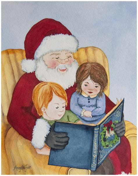 watercolour painting santa reading to children angela