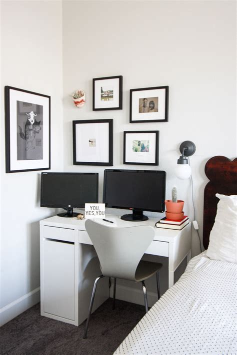 simple white bedroom one little minute blog one little small office in master bedroom one little minute