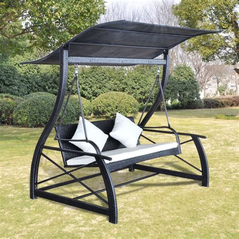 hanging swing outdoor hanging swing chair with roof black rattan