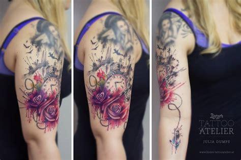 flores reloj ancla angeles by julia dumps tatuajes