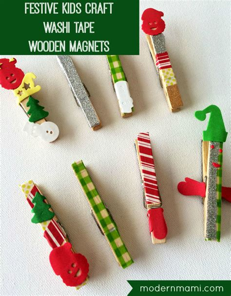 simple festive christmas wooden magnets kids craft