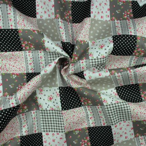 Cotton Patchwork - 100 cotton fabric black patchwork floral sold per metre