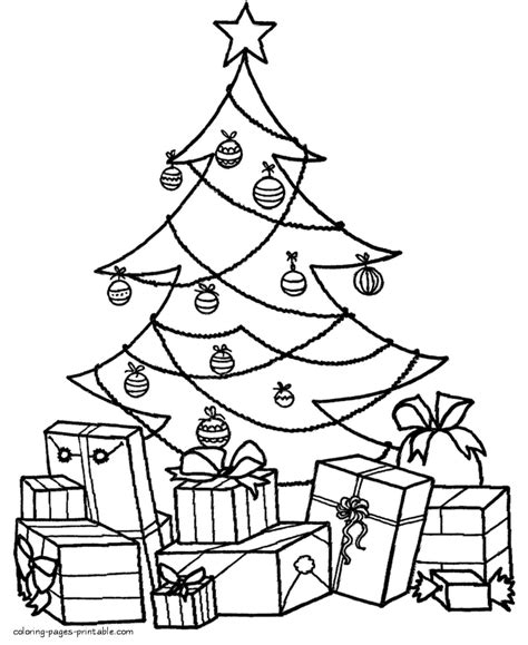 coloring pages on christmas tree christmas tree coloring pages with presents