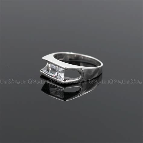 Silver Ring With Cubic Zirconia P 1009 movable 925 sterling silver transparent cubic zirconia ring