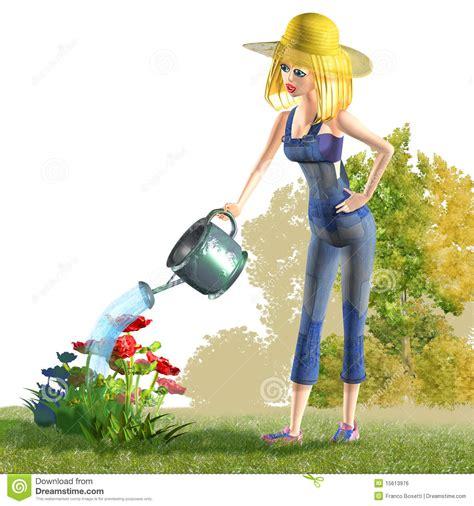 girl watering flowers girl watering flowers royalty free stock image image