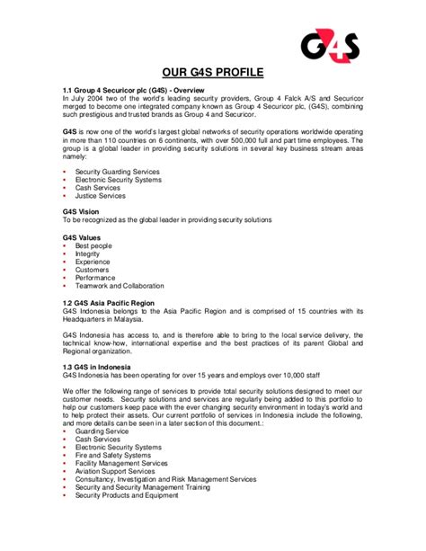 security company profile template g4s security services company profile g4s