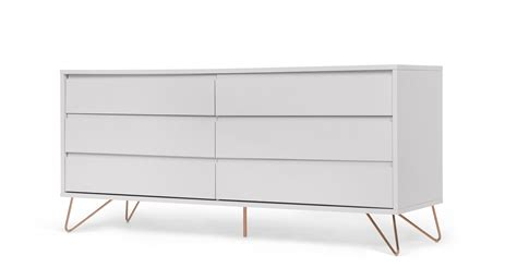 kommode grau elona wide chest of drawers grey and copper made