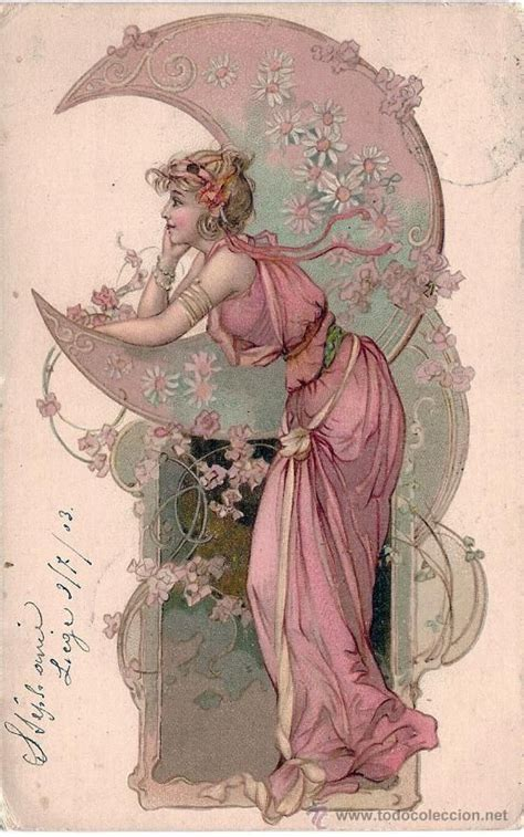 Imagenes Mujeres Art Deco | postcard art nouveau woman with moon circulated