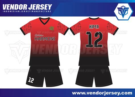 desain baju futsal paling keren bikin jersey printing gradasi warna merah hitam vendor