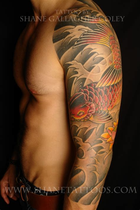 koi fish sleeve tattoo japanese koi fish on left sleeve