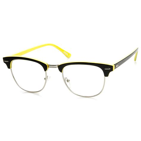 two tone colorful half frame clear lens horn rimmed