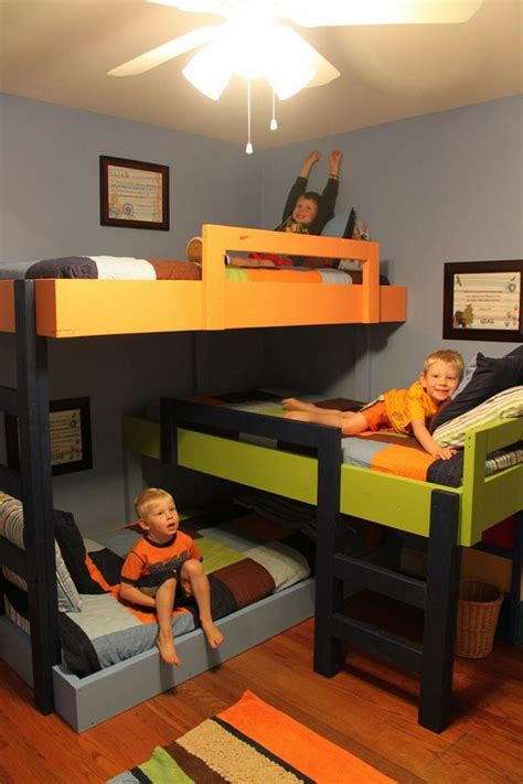 three in a bed diy triple bunk bed the owner builder network