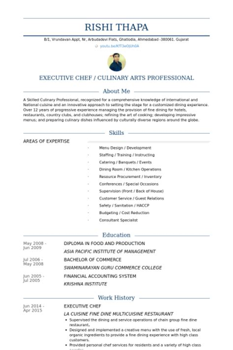 resume format of executive chef executive chef resume sles visualcv resume sles