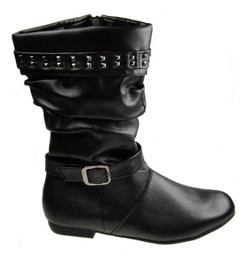 Flat Shoes Inside 13 faux leather inside zip flat slouch boots black