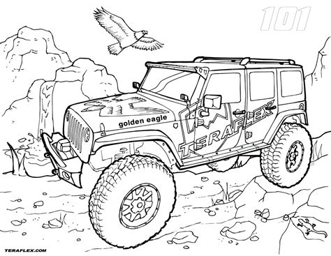 powerful golden eagle jeep coloring pages picolour