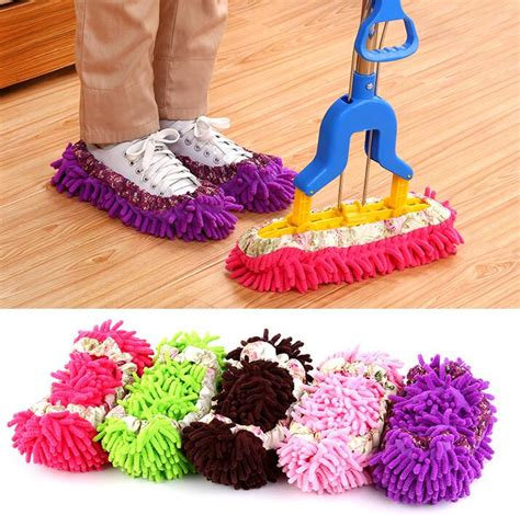 shoe covers for open house 2pcs multifunctional shoe covers clean slippers lazy drag shoe mop caps dust cleaner