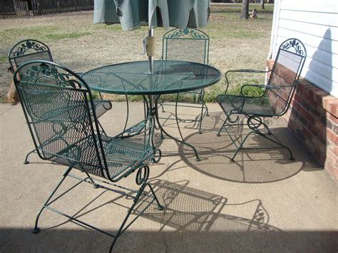 Amazing Grays Updated Patio Set Green Wrought Iron Patio Furniture