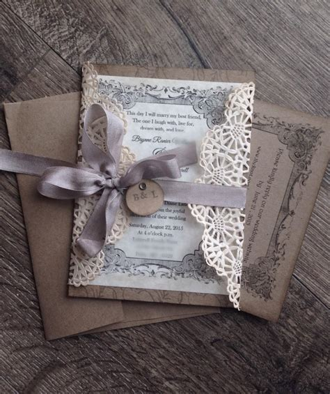 rustic gray lace wedding invitation sample rustic wedding