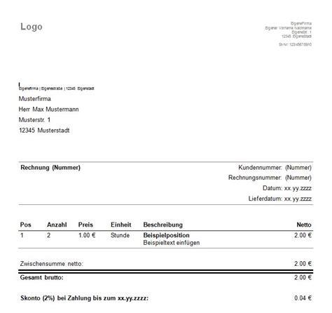 Rechnung Kleingewerbe Muster Word Vorlagen Muster F 252 R Rechnungen Kleingewerbe Rechnung