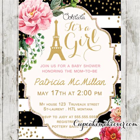 Pink Black And White Baby Shower Invitations by Black White Stripes Pink Floral Baby Shower