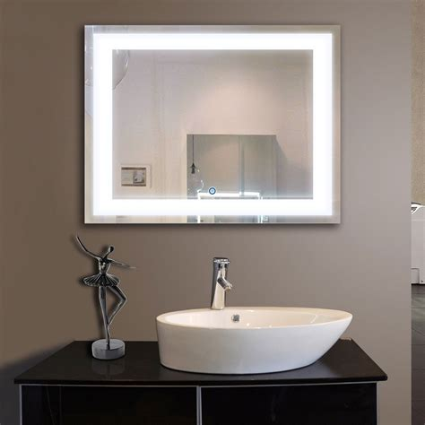 horizontal bathroom mirrors 36 x 28 in horizontal led bathroom silvered mirror with