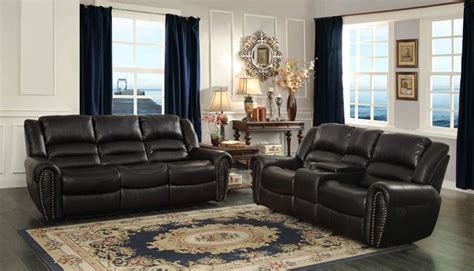 Black Leather Reclining Living Room Sets Homelegance 9668blk 3 Center Hill Reclining Leather Living
