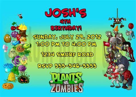 plants vs zombies invitation template plants vs zombies birthday invitation personalized digital
