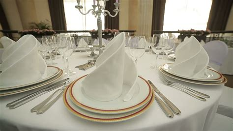 table set up beautiful wedding table set up dolly shot stock footage