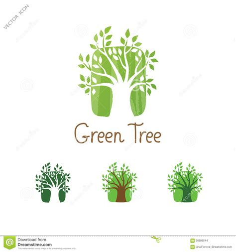 green plans green tree vector logo design garden concept eco icon