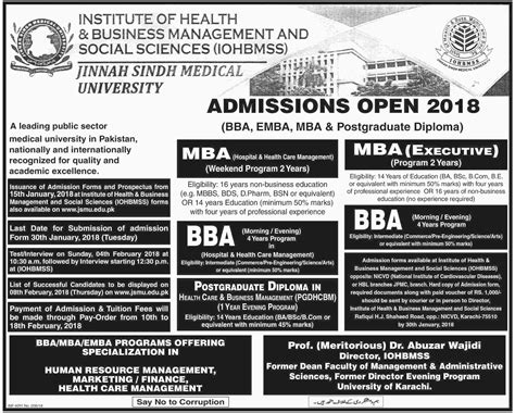 Mba In Healthcare Management In Karachi by Admission Open In Institute Of Health And Business