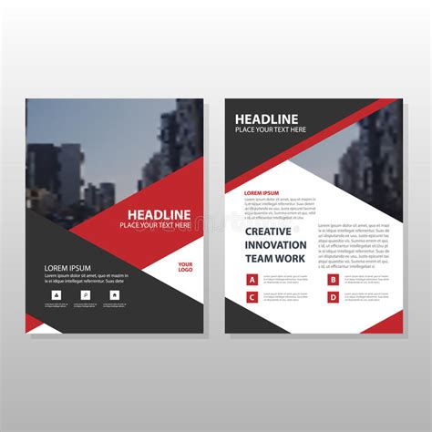 business report layout design red black triangle leaflet brochure flyer annual report