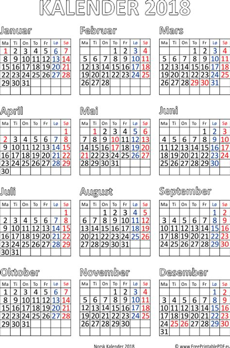Kalender 2018 Gratis Kalender 2018 Utskriftsvennlig Gratis Utskriftsvennlig Pdf